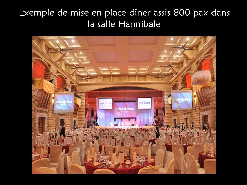 E xemple de mise en place dîner assis 800 pax dans la salle Hannibale