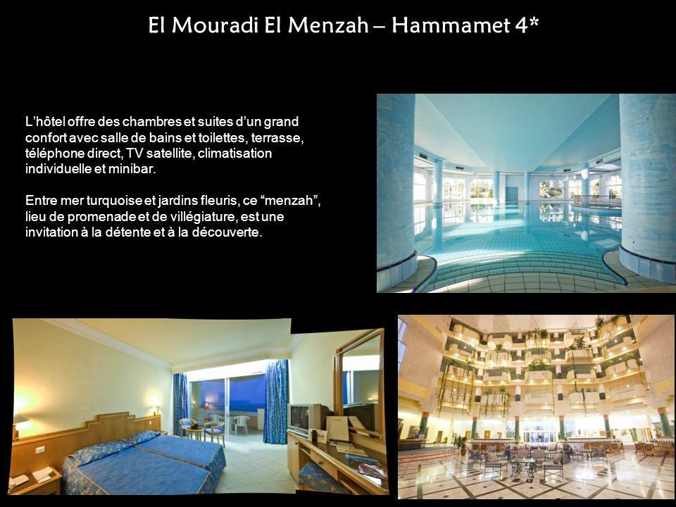 El Mouradi El Menzah – Hammamet 4* Lhôtel offre des chambres et suites dun grand confort avec salle de bains et toilettes, terrasse, téléphone direct,