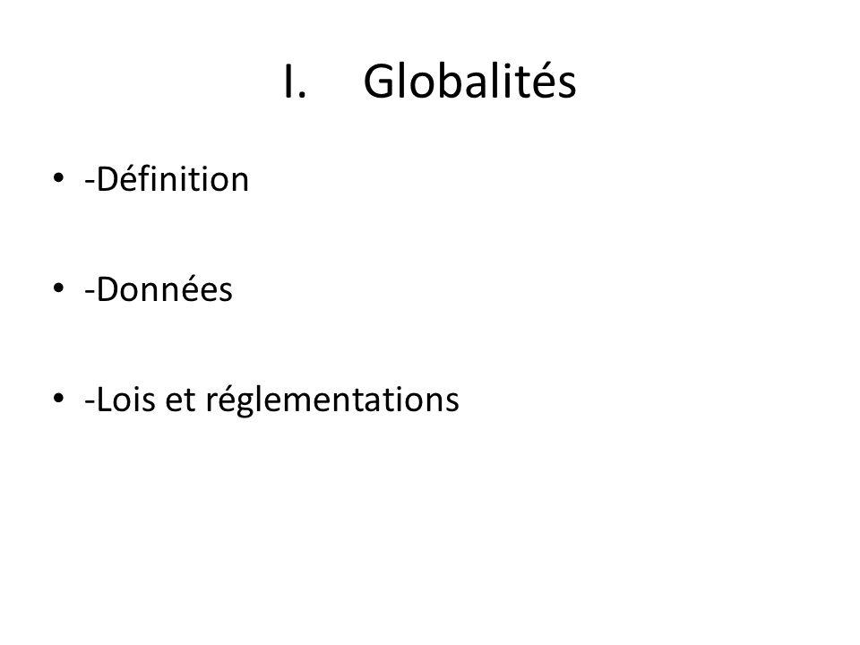 I.Globalités -Définition -Données -Lois et réglementations