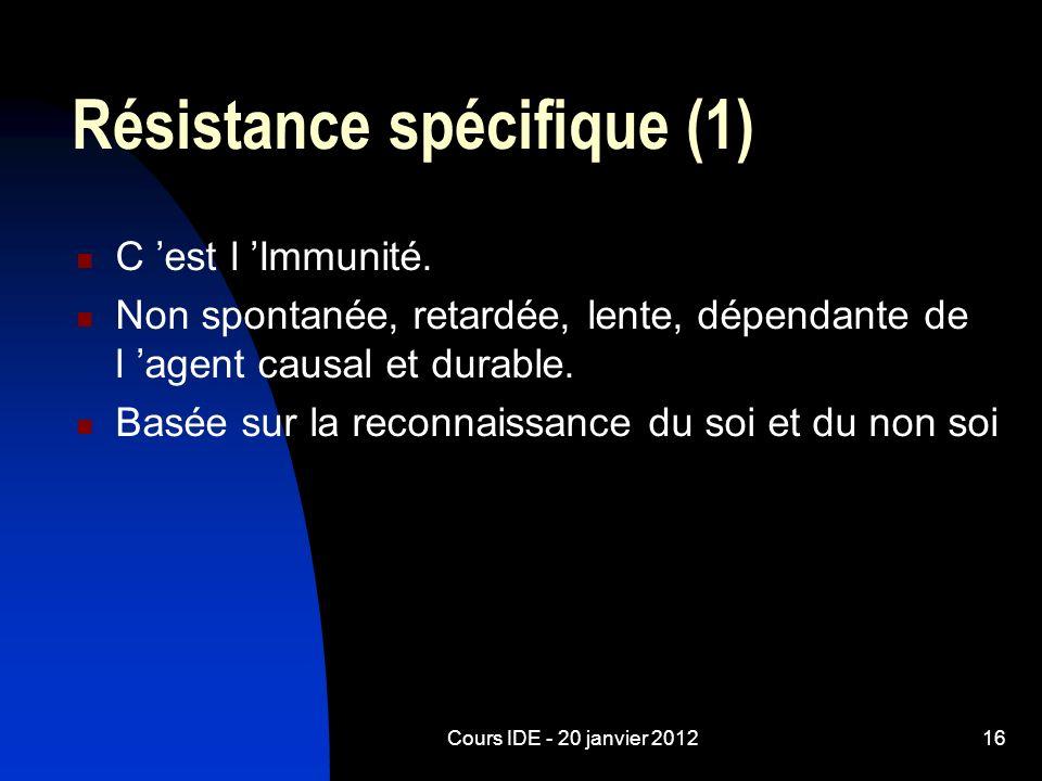 Cours IDE - 20 janvier 201216 Résistance spécifique (1) C est l Immunité. Non spontanée, retardée, lente, dépendante de l agent causal et durable. Bas