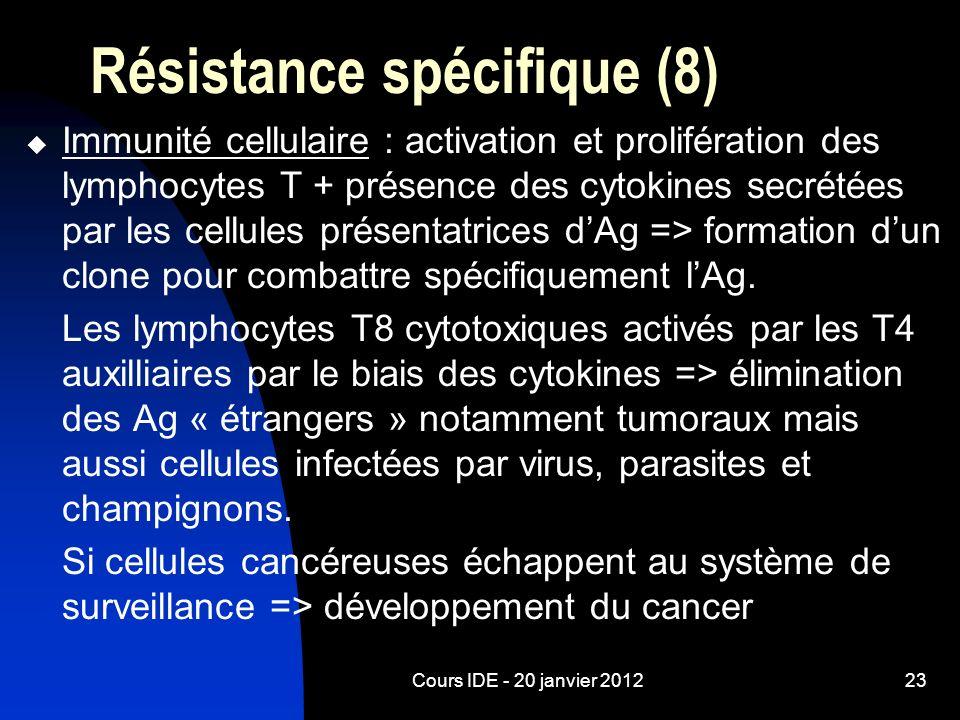 Cours IDE - 20 janvier 201223 Résistance spécifique (8) Immunité cellulaire : activation et prolifération des lymphocytes T + présence des cytokines s