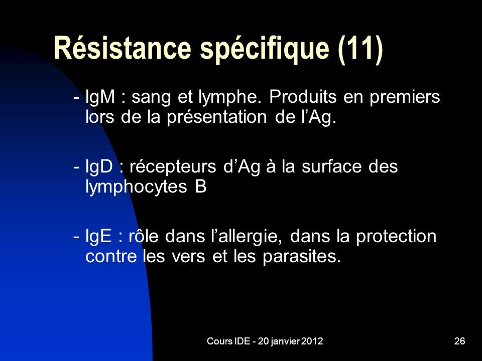 Cours IDE - 20 janvier 201226 Résistance spécifique (11) - IgM : sang et lymphe. Produits en premiers lors de la présentation de lAg. - IgD : récepteu