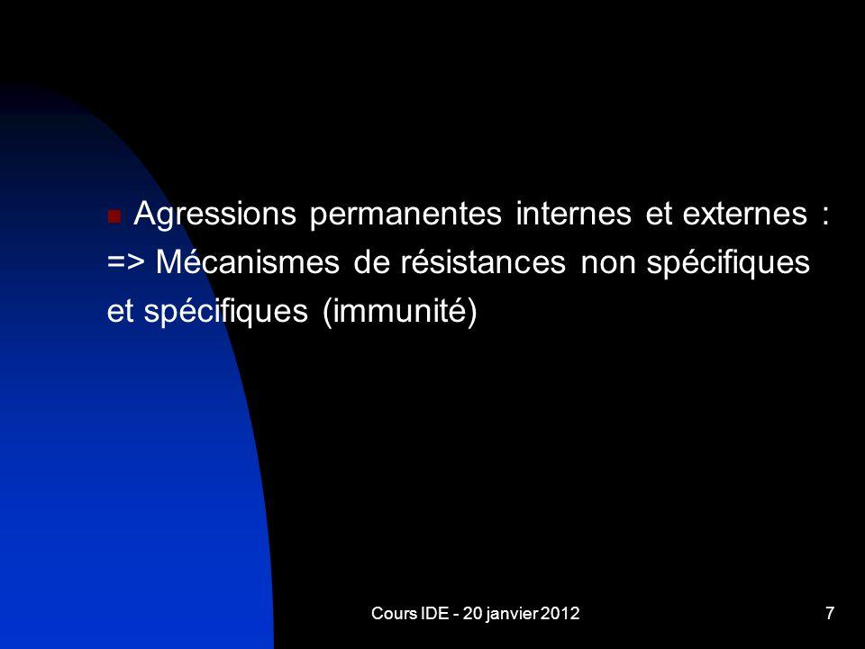 Cours IDE - 20 janvier 20127 Agressions permanentes internes et externes : => Mécanismes de résistances non spécifiques et spécifiques (immunité)