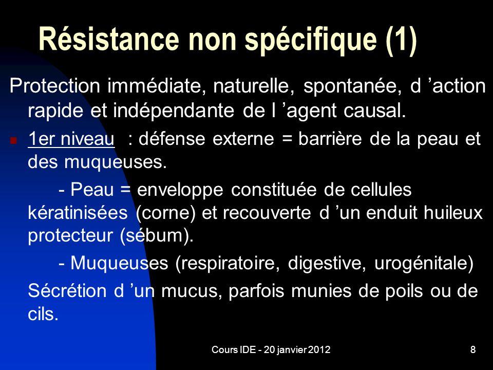 Cours IDE - 20 janvier 20128 Protection immédiate, naturelle, spontanée, d action rapide et indépendante de l agent causal. 1er niveau : défense exter