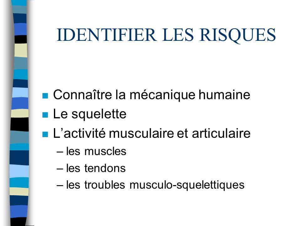 IDENTIFIER LES RISQUES n Connaître la mécanique humaine n Le squelette n Lactivité musculaire et articulaire –les muscles –les tendons –les troubles m