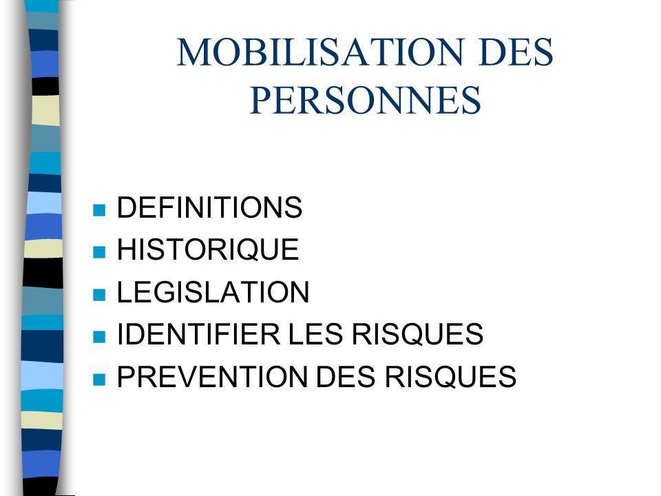 MOBILISATION DES PERSONNES n DEFINITIONS n HISTORIQUE n LEGISLATION n IDENTIFIER LES RISQUES n PREVENTION DES RISQUES