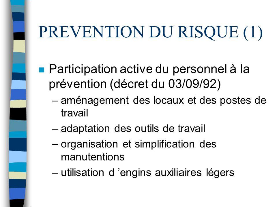 PREVENTION DU RISQUE (1) n Participation active du personnel à la prévention (décret du 03/09/92) –aménagement des locaux et des postes de travail –ad