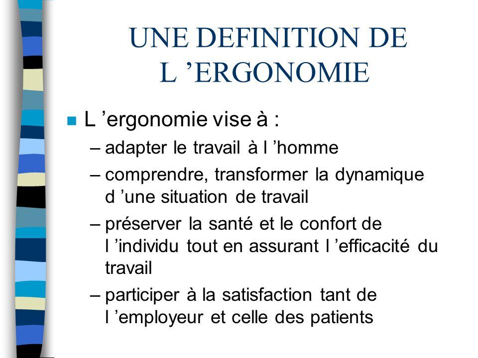 UNE DEFINITION DE L ERGONOMIE n L ergonomie vise à : –adapter le travail à l homme –comprendre, transformer la dynamique d une situation de travail –p