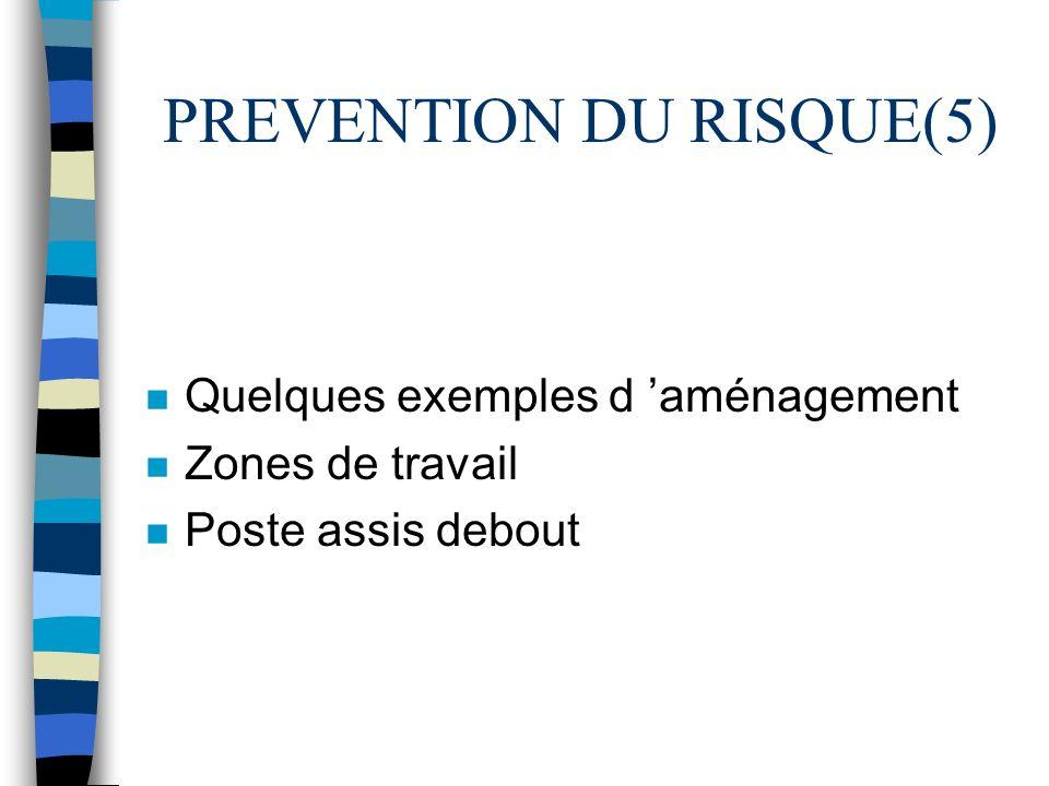 PREVENTION DU RISQUE(5) n Quelques exemples d aménagement n Zones de travail n Poste assis debout