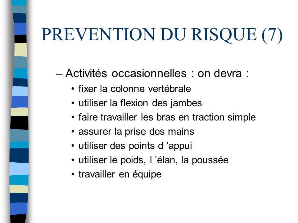 PREVENTION DU RISQUE (7) –Activités occasionnelles : on devra : fixer la colonne vertébrale utiliser la flexion des jambes faire travailler les bras e