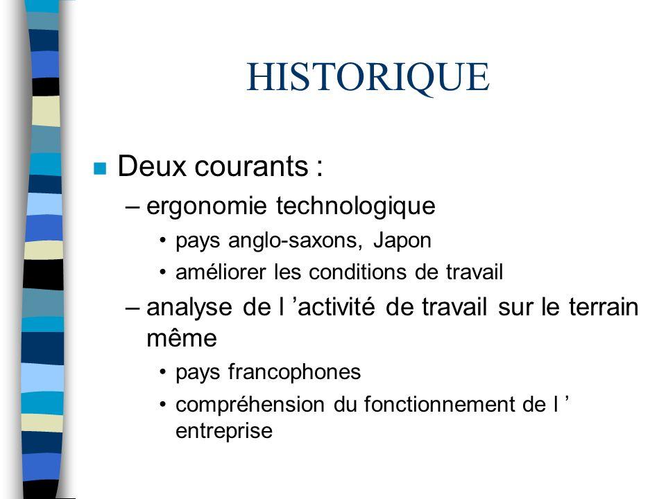 HISTORIQUE n Deux courants : –ergonomie technologique pays anglo-saxons, Japon améliorer les conditions de travail –analyse de l activité de travail s