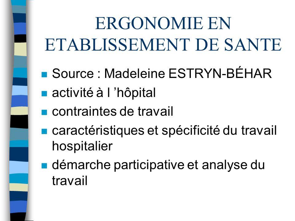 ERGONOMIE EN ETABLISSEMENT DE SANTE n Source : Madeleine ESTRYN-BÉHAR n activité à l hôpital n contraintes de travail n caractéristiques et spécificit