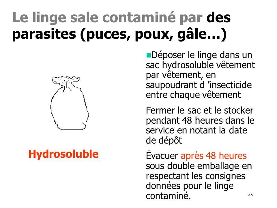 29 Le linge sale contaminé par des parasites (puces, poux, gâle…) Hydrosoluble Déposer le linge dans un sac hydrosoluble vêtement par vêtement, en sau