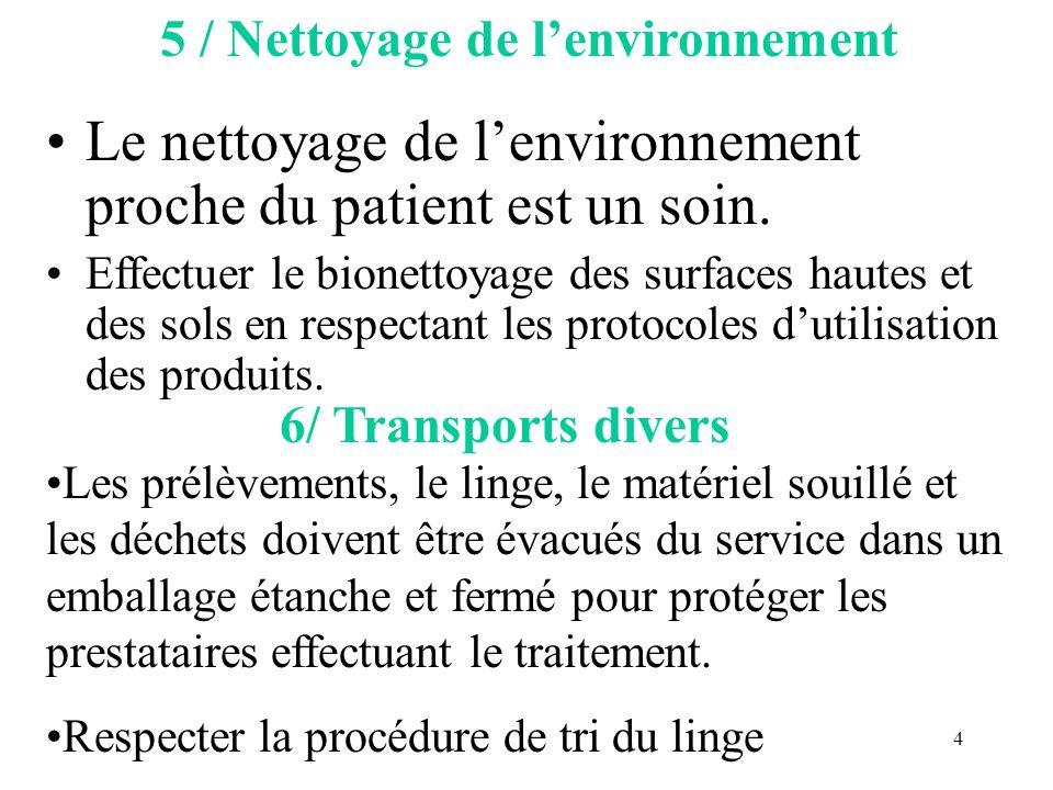 4 5 / Nettoyage de lenvironnement Le nettoyage de lenvironnement proche du patient est un soin. Effectuer le bionettoyage des surfaces hautes et des s