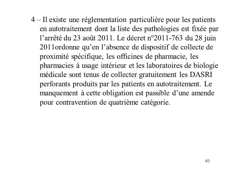 40 4 – Il existe une réglementation particulière pour les patients en autotraitement dont la liste des pathologies est fixée par larrêté du 23 août 20