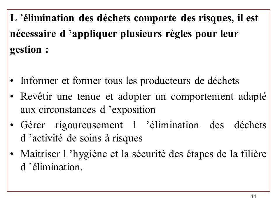 44 L élimination des déchets comporte des risques, il est nécessaire d appliquer plusieurs règles pour leur gestion : Informer et former tous les prod