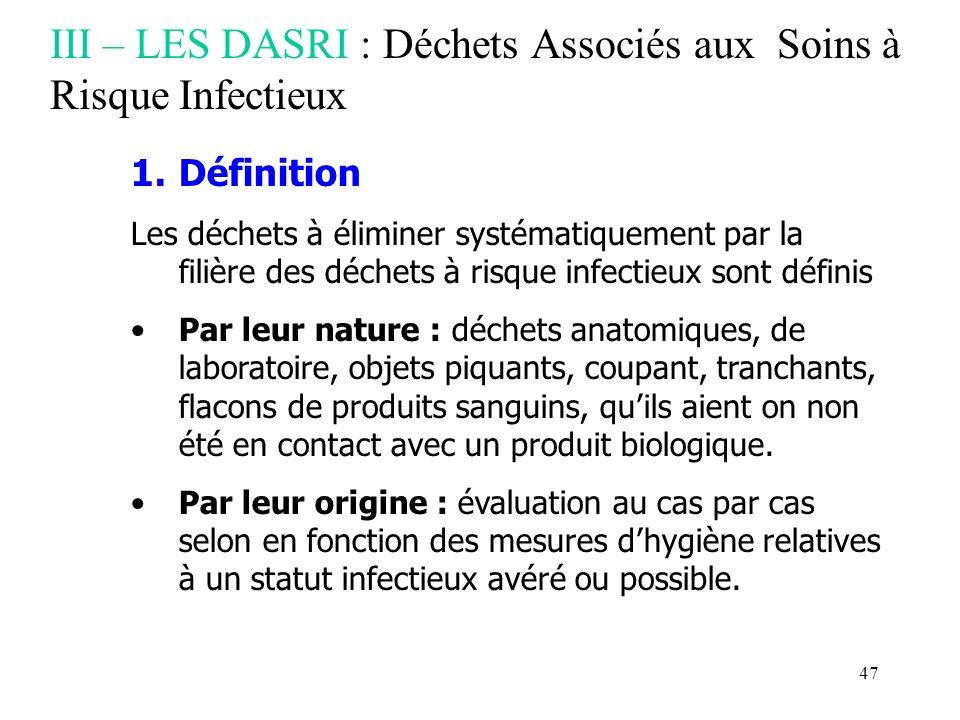 47 III – LES DASRI : Déchets Associés aux Soins à Risque Infectieux 1.Définition Les déchets à éliminer systématiquement par la filière des déchets à