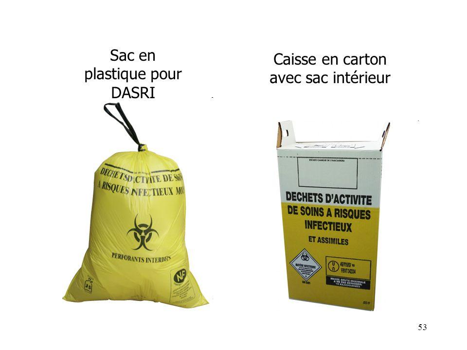 53 Sac en plastique pour DASRI Caisse en carton avec sac intérieur