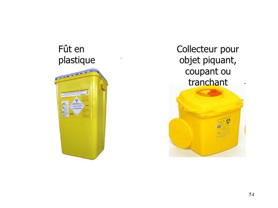 54 Fût en plastique Collecteur pour objet piquant, coupant ou tranchant