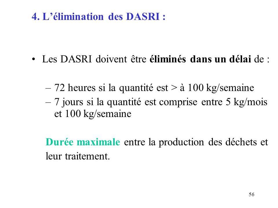56 4. Lélimination des DASRI : Les DASRI doivent être éliminés dans un délai de : –72 heures si la quantité est > à 100 kg/semaine –7 jours si la quan