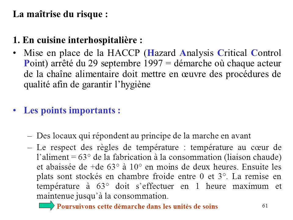 61 La maîtrise du risque : 1. En cuisine interhospitalière : Mise en place de la HACCP (Hazard Analysis Critical Control Point) arrêté du 29 septembre