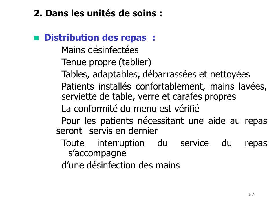 62 2. Dans les unités de soins : Distribution des repas : Mains désinfectées Tenue propre (tablier) Tables, adaptables, débarrassées et nettoyées Pati
