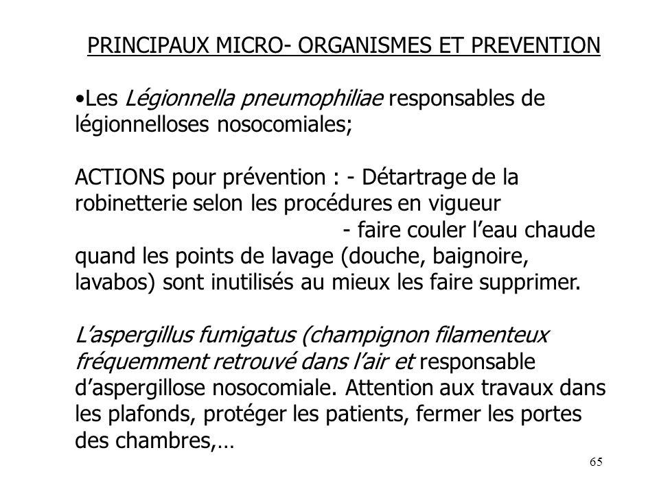 65 PRINCIPAUX MICRO- ORGANISMES ET PREVENTION Les Légionnella pneumophiliae responsables de légionnelloses nosocomiales; ACTIONS pour prévention : - D