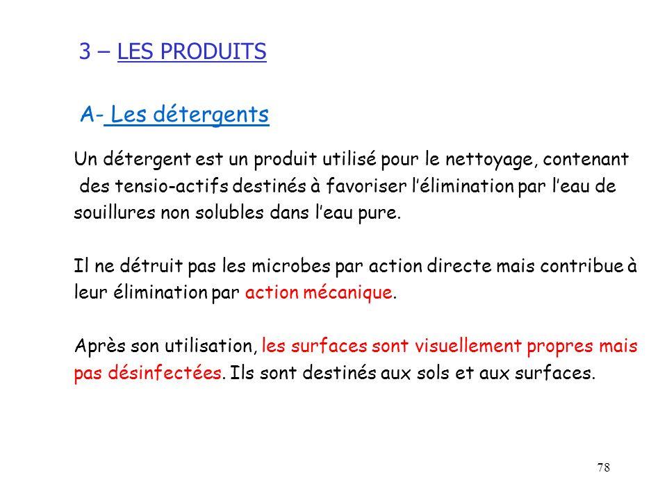 78 A- Les détergents Un détergent est un produit utilisé pour le nettoyage, contenant des tensio-actifs destinés à favoriser lélimination par leau de