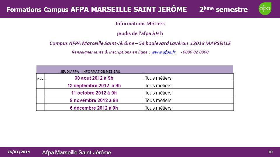 26/01/2014 Afpa Marseille Saint-Jérôme 10 Formations Campus AFPA MARSEILLE SAINT JERÔME 2 ème semestre Informations Métiers jeudis de lafpa à 9 h Camp