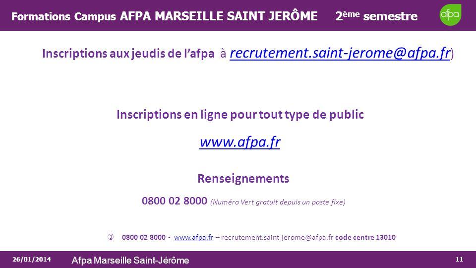26/01/2014 Afpa Marseille Saint-Jérôme 11 Inscriptions aux jeudis de lafpa à recrutement.saint-jerome@afpa.fr ) recrutement.saint-jerome@afpa.fr Inscr