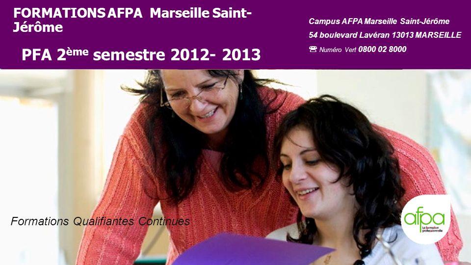 226/01/2014 Formations Qualifiantes Continues FORMATIONS AFPA Marseille Saint- Jérôme PFA 2 ème semestre 2012- 2013 Campus AFPA Marseille Saint-Jérôme