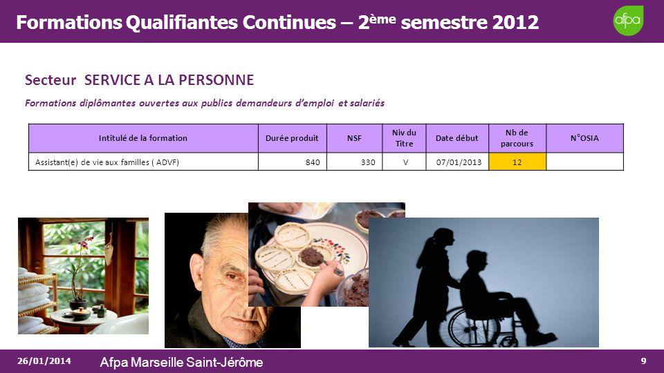26/01/2014 Afpa Marseille Saint-Jérôme 9 Formations Qualifiantes Continues – 2 ème semestre 2012 Secteur SERVICE A LA PERSONNE Formations diplômantes