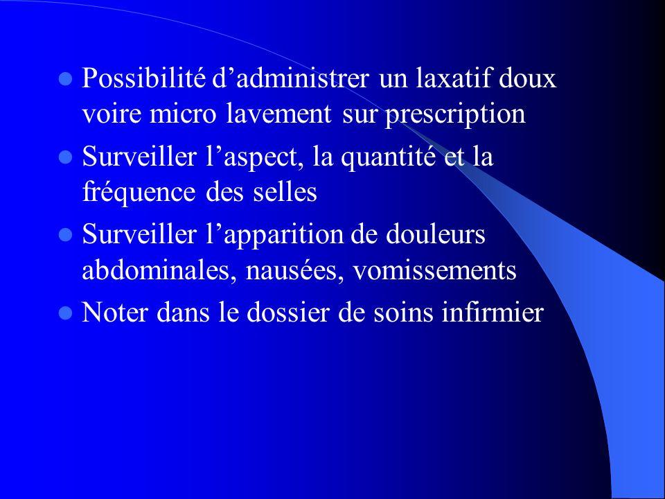 Possibilité dadministrer un laxatif doux voire micro lavement sur prescription Surveiller laspect, la quantité et la fréquence des selles Surveiller l