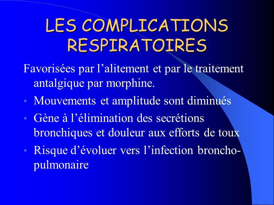 LES COMPLICATIONS RESPIRATOIRES Favorisées par lalitement et par le traitement antalgique par morphine. Mouvements et amplitude sont diminués Gène à l