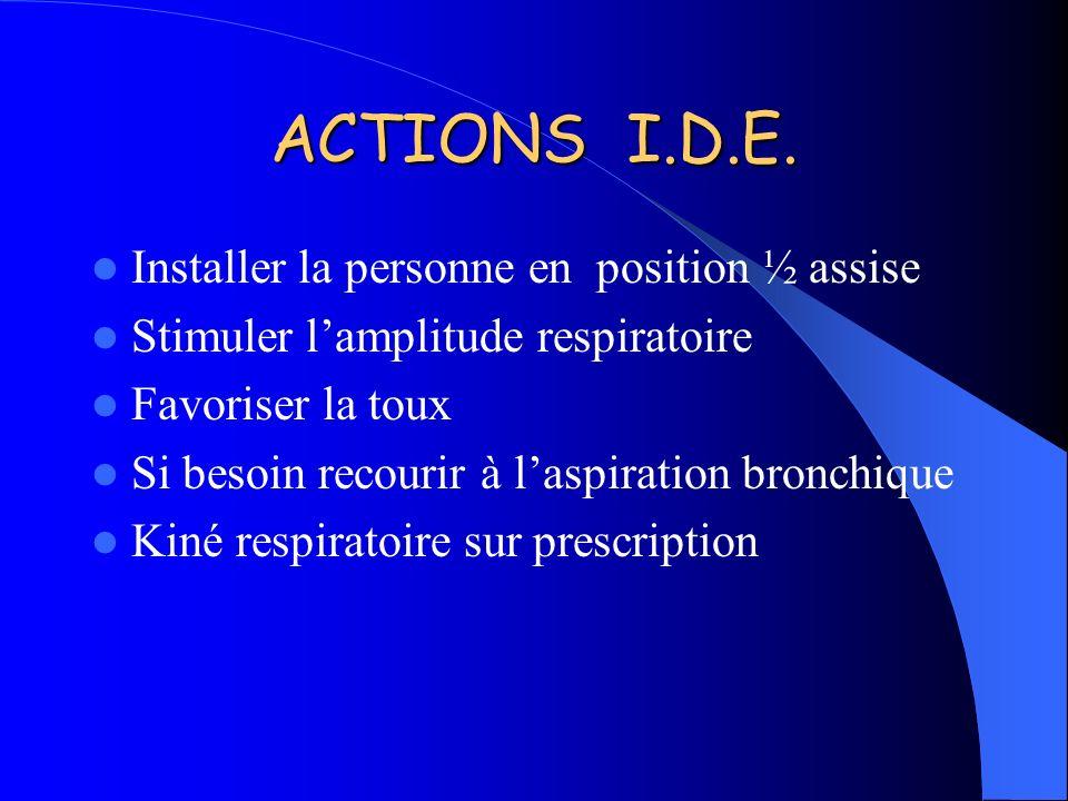 ACTIONS I.D.E. Installer la personne en position ½ assise Stimuler lamplitude respiratoire Favoriser la toux Si besoin recourir à laspiration bronchiq