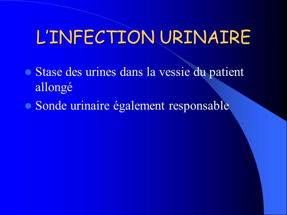 LINFECTION URINAIRE Stase des urines dans la vessie du patient allongé Sonde urinaire également responsable