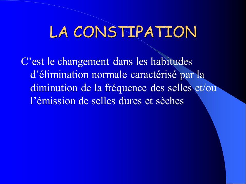 LA CONSTIPATION Cest le changement dans les habitudes délimination normale caractérisé par la diminution de la fréquence des selles et/ou lémission de
