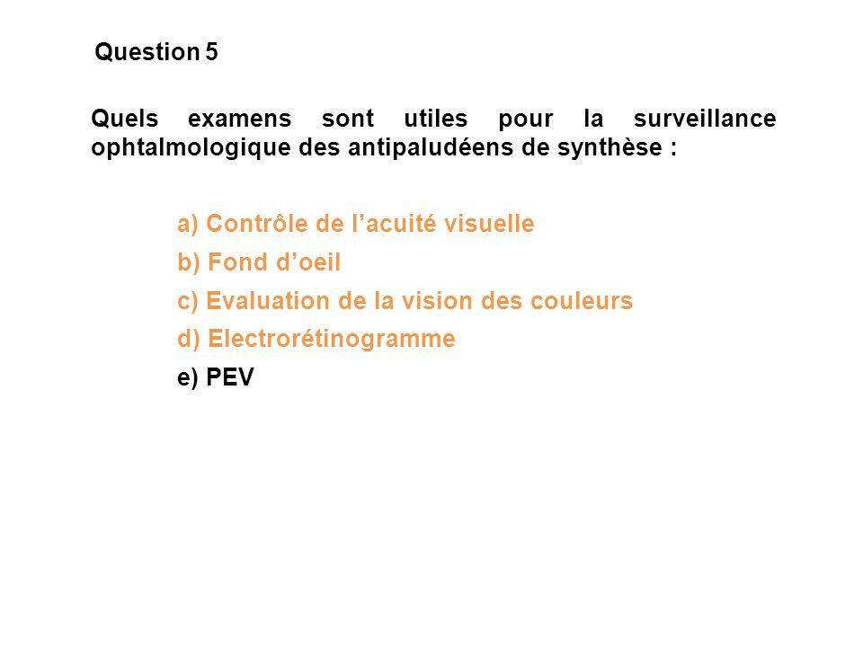Quels examens sont utiles pour la surveillance ophtalmologique des antipaludéens de synthèse : a) Contrôle de lacuité visuelle b) Fond doeil c) Evalua