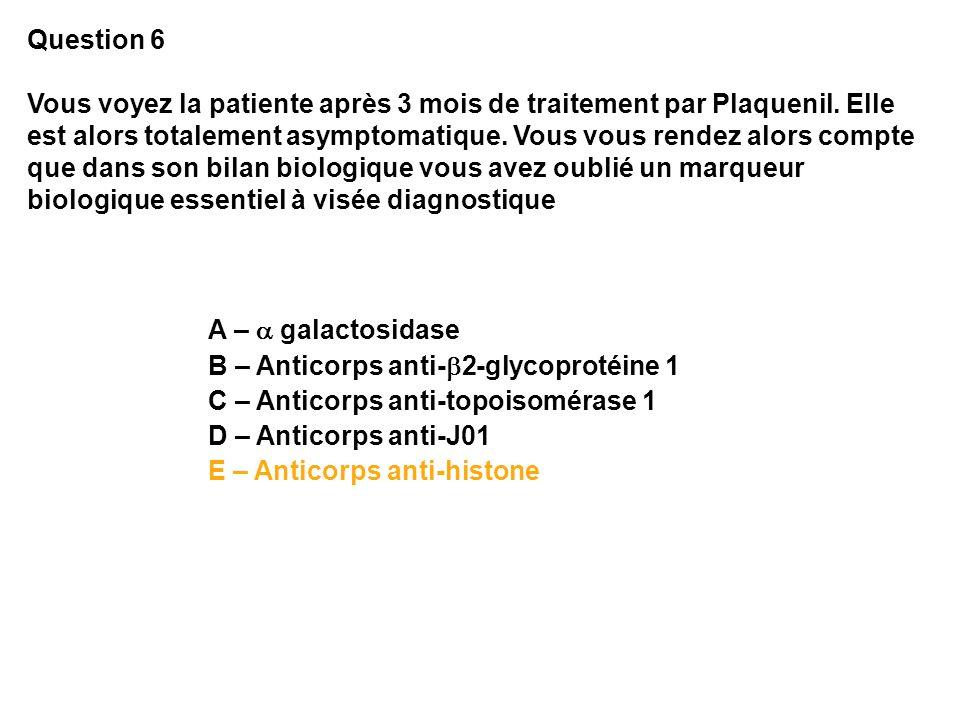 Question 6 Vous voyez la patiente après 3 mois de traitement par Plaquenil. Elle est alors totalement asymptomatique. Vous vous rendez alors compte qu