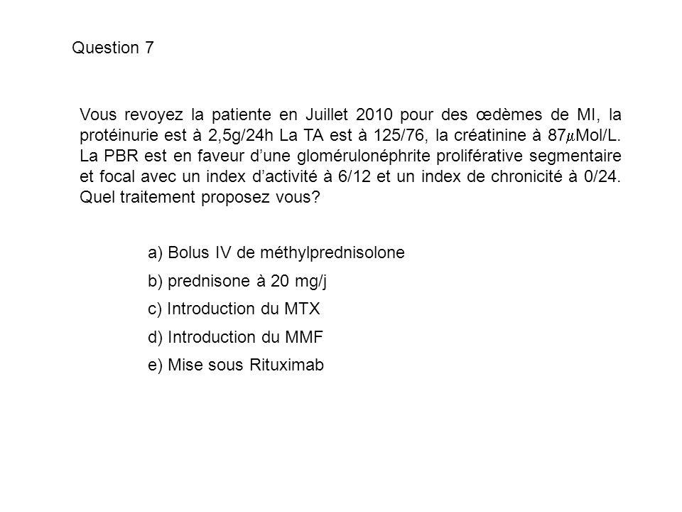 Vous revoyez la patiente en Juillet 2010 pour des œdèmes de MI, la protéinurie est à 2,5g/24h La TA est à 125/76, la créatinine à 87 Mol/L. La PBR est