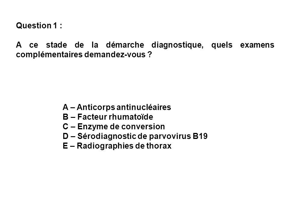 Question 4 : Le test de Farr est négatif, il ny a pas danticorps anticardiolipine, pas dantiprothrombinase, pas danticorps anti-CCP.
