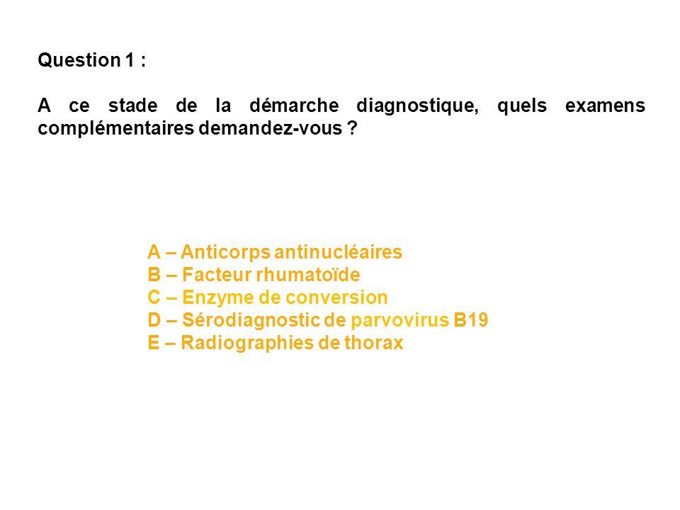 Le facteur rhumatoïde est positif à 132 U (normale < 14, technique immunoturbidimétrique), la sérologie de Lyme est positive en IgG, parvovirus B19négatif, les anticorps antinucléaires sont positifs à 1/1280 de fluorescence homogène.