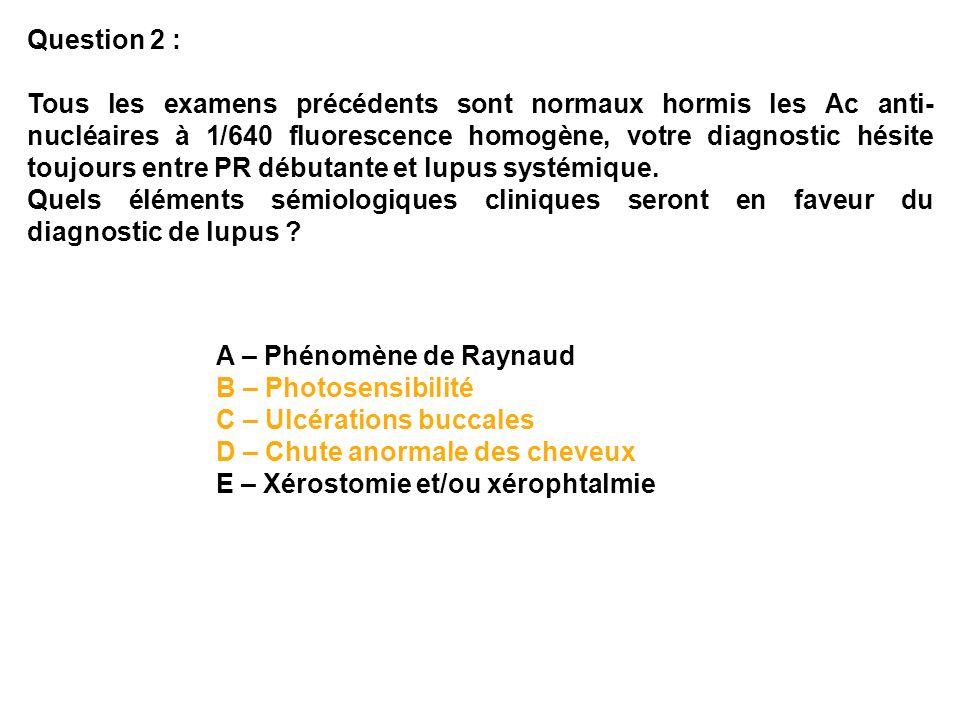 Quels examens sont utiles pour la surveillance ophtalmologique des antipaludéens de synthèse : a) Contrôle de lacuité visuelle b) Fond doeil c) Evaluation de la vision des couleurs d) Electrorétinogramme e) PEV Question 5