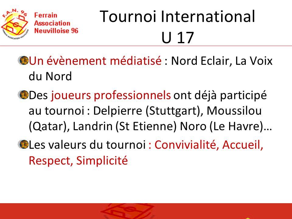 Tournoi International U 17 Un évènement médiatisé : Nord Eclair, La Voix du Nord Des joueurs professionnels ont déjà participé au tournoi : Delpierre