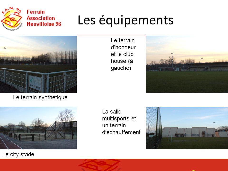 Les équipements Le terrain dhonneur et le club house (à gauche) Le terrain synthétique Le city stade La salle multisports et un terrain déchauffement