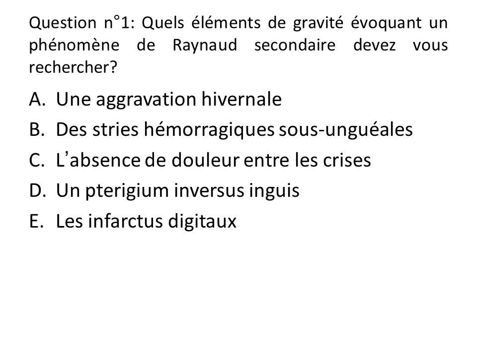 Question n°1: Quels éléments de gravité évoquant un phénomène de Raynaud secondaire devez vous rechercher.