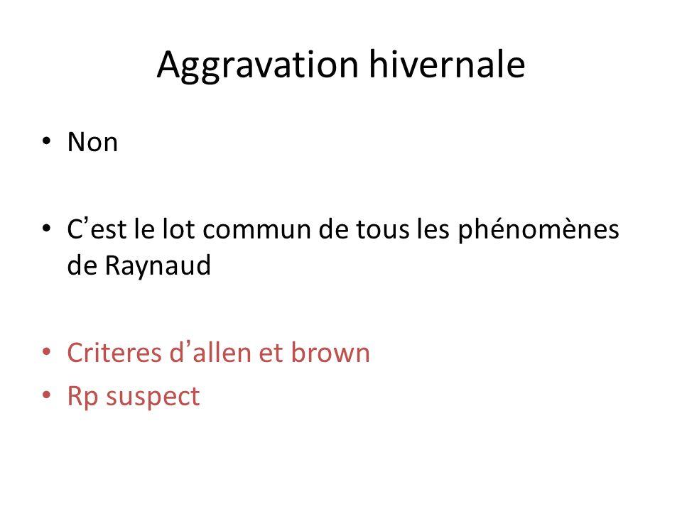Aggravation hivernale Non Cest le lot commun de tous les phénomènes de Raynaud Criteres dallen et brown Rp suspect