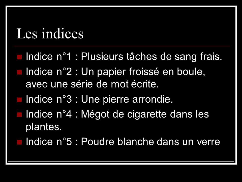 Les indices Indice n°1 : Plusieurs tâches de sang frais. Indice n°2 : Un papier froissé en boule, avec une série de mot écrite. Indice n°3 : Une pierr