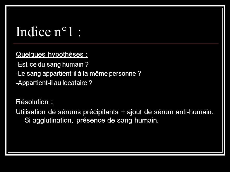 Indice n°1 : Quelques hypothèses : -Est-ce du sang humain ? -Le sang appartient-il à la même personne ? -Appartient-il au locataire ? Résolution : Uti