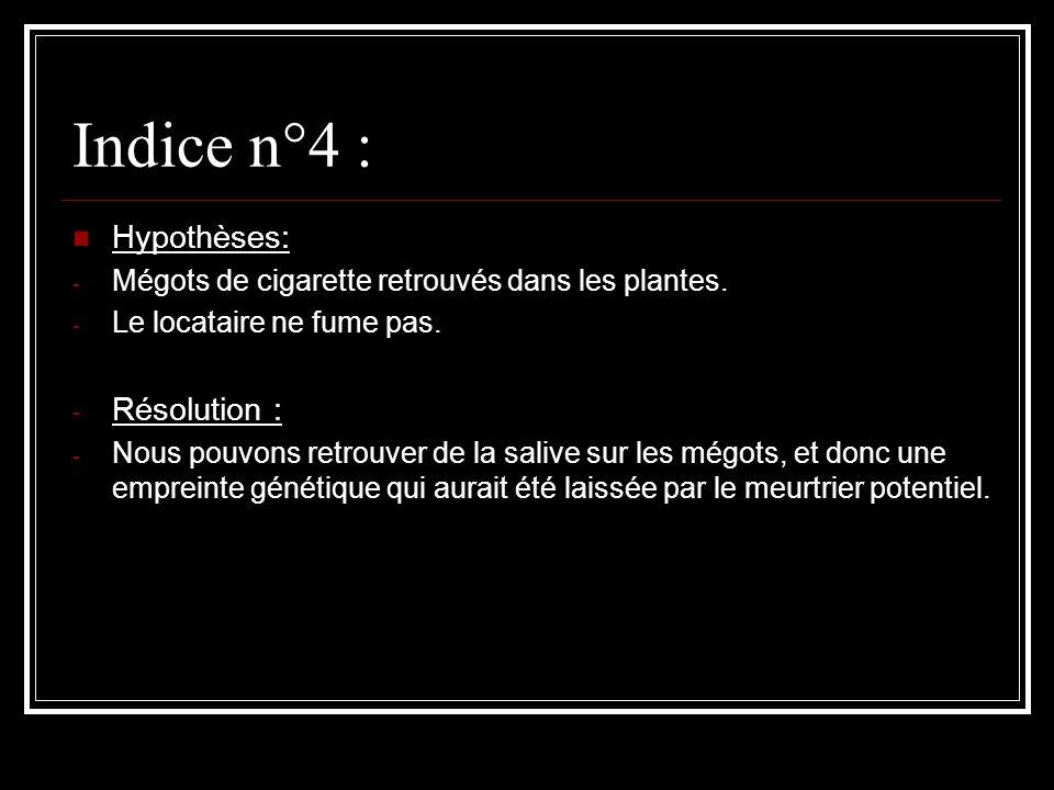 Indice n°4 : Hypothèses: - Mégots de cigarette retrouvés dans les plantes. - Le locataire ne fume pas. - Résolution : - Nous pouvons retrouver de la s